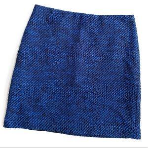 LOFT Blue & Black Tweed Mini Pencil Skirt Size 4